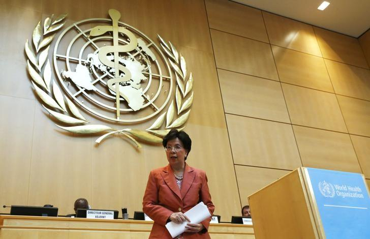 World Health Organization (WHO) Director-General Margaret Chan leaves the podium after her speech at the 69th World Health Assembly at the United Nations European headquarters in Geneva, Switzerland, May 23, 2016. REUTERS/Denis Balibouse/Files