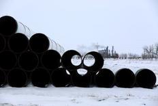 Трубы для планируемого Transcanada Corp нефтепровода Keystone XL в Гаскойне, Северная Дакота, 25 января 2017 года. Президент США Дональд Трамп во вторник подписал указ о возобновлении строительства нефтепроводов Keystone XL и Dakota Access – шаг, очевидно, продиктованный не только желанием расширить энергетическую инфраструктуру, но и насолить своему предшественнику Бараку Обаме. REUTERS/Terray Sylvester