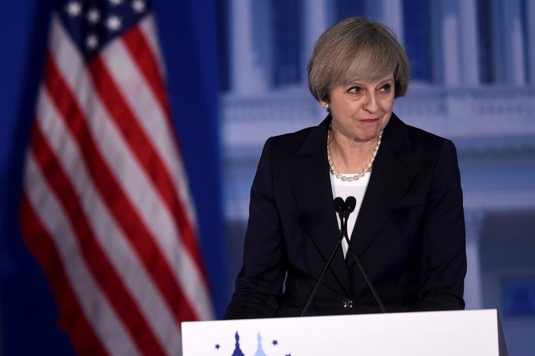 Britain's Prime Minister Theresa May speaks during the 2017 ''Congress of Tomorrow'' Joint Republican Issues Conference in Philadelphia, Pennsylvania, U.S. January 26, 2017.  REUTERS/Mark Makela