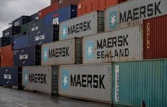 Empty Maersk shipping containers are seen stacked at Peel Ports container terminal in Liverpool northern England, December 9, 2016. REUTERS/Phil Noble - RTX2UTIR