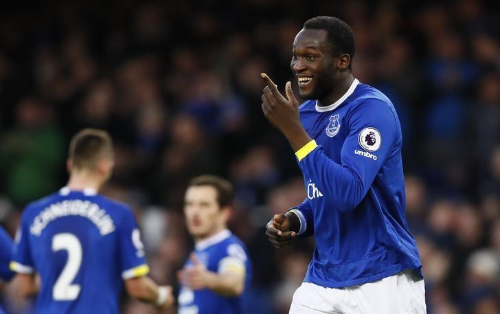 Britain Football Soccer - Everton v AFC Bournemouth - Premier League - Goodison Park - 4/2/17 Everton's Romelu Lukaku celebrates scoring their fifth goal  Action Images via Reuters / Jason Cairnduff Livepic