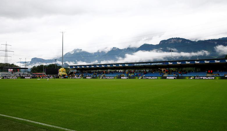 FILE PHOTO: A general view shows the Cashpoint arena in Altach, Austria before a friendly soccer match Borussia Dortmund against Sunderland, August 5, 2016. REUTERS/ Arnd Wiegmann/File Photo