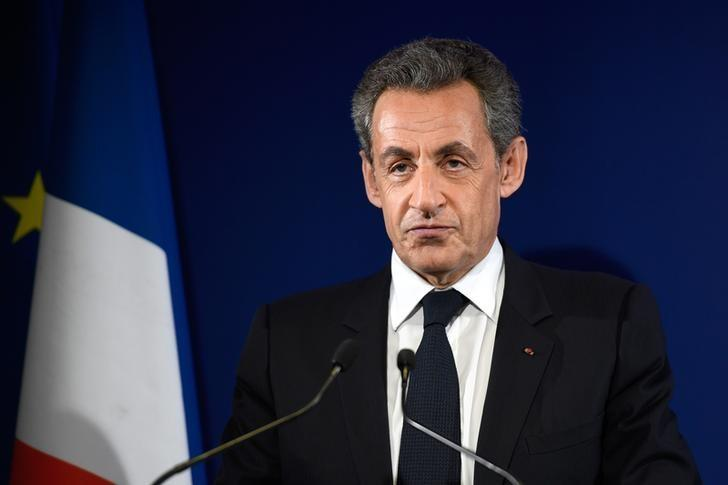 Nicolas Sarkozy, former French president and candidate for the French conservative presidential primary, reacts after partial results in the first round of the French center-right presidential primary election at his campaign headquarters in Paris, France, November 20, 2016.  REUTERS/Eric Feferberg/Pool