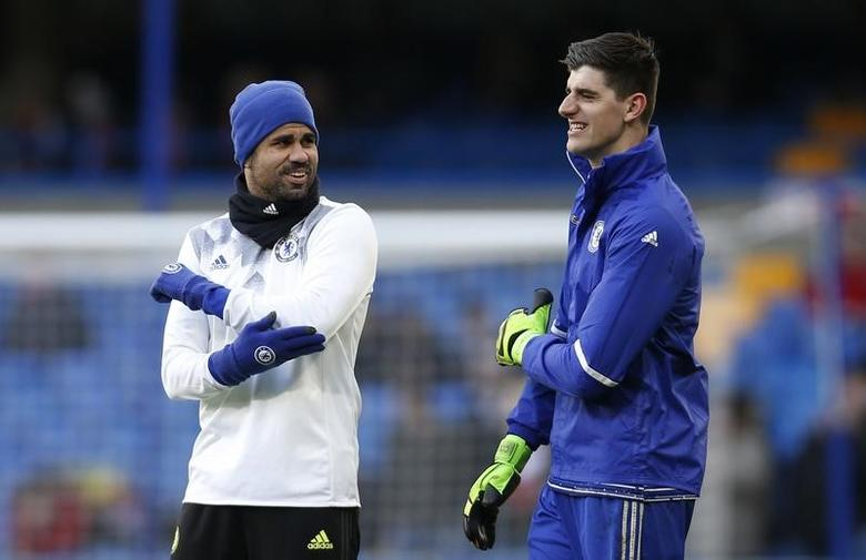 Britain Football Soccer - Chelsea v Brentford - FA Cup Fourth Round - Stamford Bridge - 28/1/17 Chelsea's Diego Costa and Thibaut Courtois before the match  Action Images via Reuters / Paul Childs Livepic