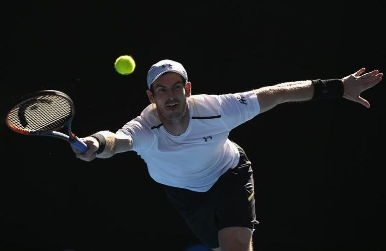 Tennis - Australian Open - Melbourne Park, Melbourne, Australia - 22/1/17 Britain's Andy Murray reaches for a shot during his Men's singles fourth round match against Germany's Mischa Zverev. REUTERS/Thomas Peter