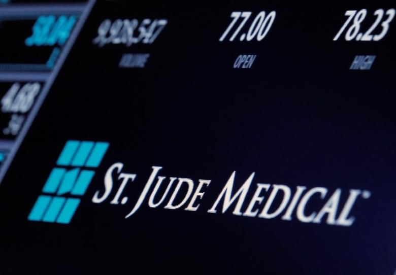 The ticker and trading information for St. Jude Medical is displayed where the stock is traded on the floor of the New York Stock Exchange (NYSE) in New York City, U.S., April 28, 2016.  REUTERS/Brendan McDermid/File Photo