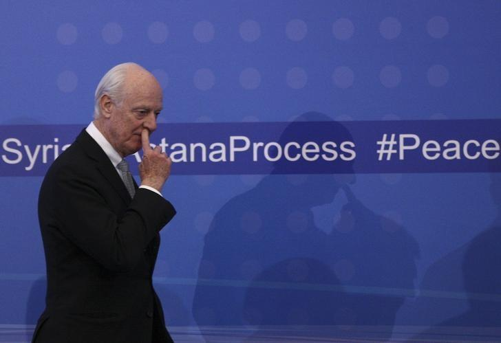 U.N. special envoy for Syria Staffan de Mistura arrives for a news conference following Syria peace talks in Astana, Kazakhstan January 24, 2017. REUTERS/Mukhtar Kholdorbekov/File Photo