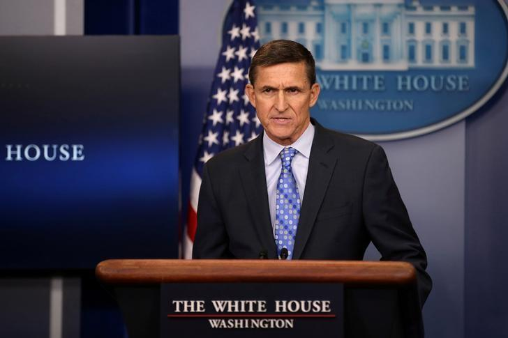 National security adviser General Michael Flynn delivers a statement daily briefing at the White House in Washington U.S., February 1, 2017.  REUTERS/Carlos Barria/File Photo