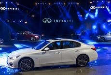 The new Infiniti Q50 sports sedan is seen during its launching in Hong Kong May 22, 2014.  REUTERS/Tyrone Siu