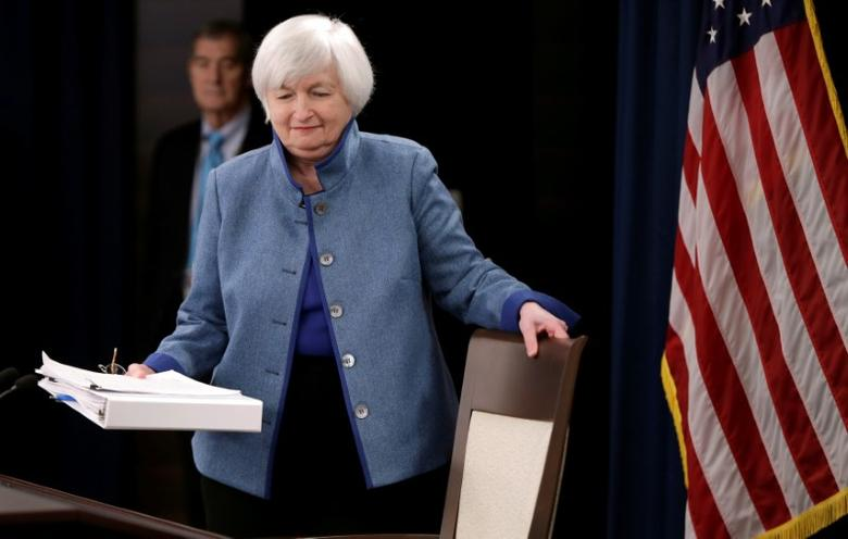 Federal Reserve  Chair Janet Yellen arrives to hold a news conference following day two of the Federal Open Market Committee (FOMC) meeting in Washington, U.S. on December 14, 2016. REUTERS/Gary Cameron/File Photo