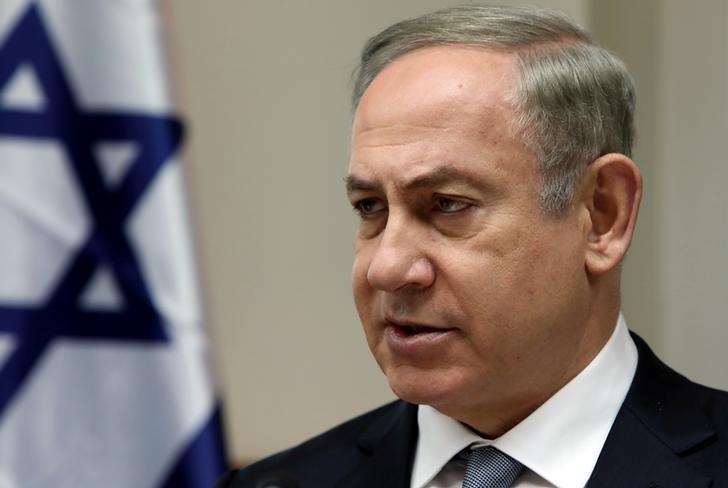 Israeli Prime Minister Benjamin Netanyahu chairs the weekly cabinet meeting in Jerusalem February 12, 2017. REUTERS/Gali Tibbon/Pool