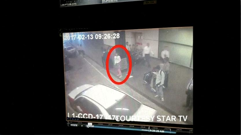 A woman who was detained at Kuala Lumpur airport, identified from CCTV footage at the airport and who was alone when she was apprehended, according to police in a statement, is seen circled in red in this still frame taken from video released February 16, 2017, showing CCTV footage courtesy of Star TV. MANDATORY CREDIT STAR TV Via REUTERS TV