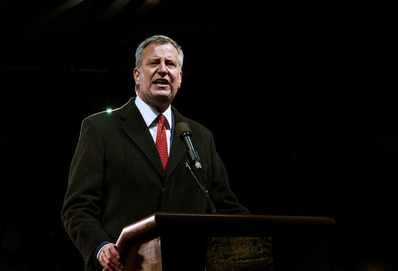 FILE PHOTO --  Mayor of New York City Bill de Blasio speaks at a protest against U.S. President-elect Donald Trump outside the Trump International Hotel in New York City, U.S. January 19, 2017. REUTERS/Stephanie Keith/File Photo