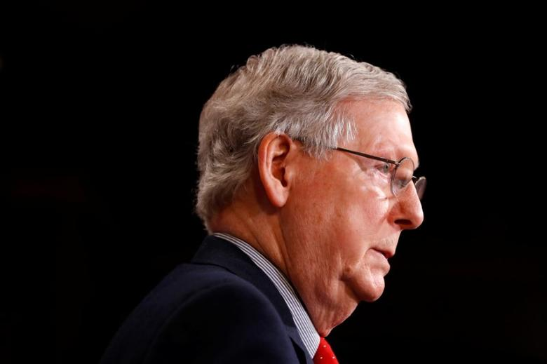 Senate Majority Leader Mitch McConnell speaks with the media at the U.S. Capitol in Washington, U.S., February 17, 2017. REUTERS/Aaron P. Bernstein