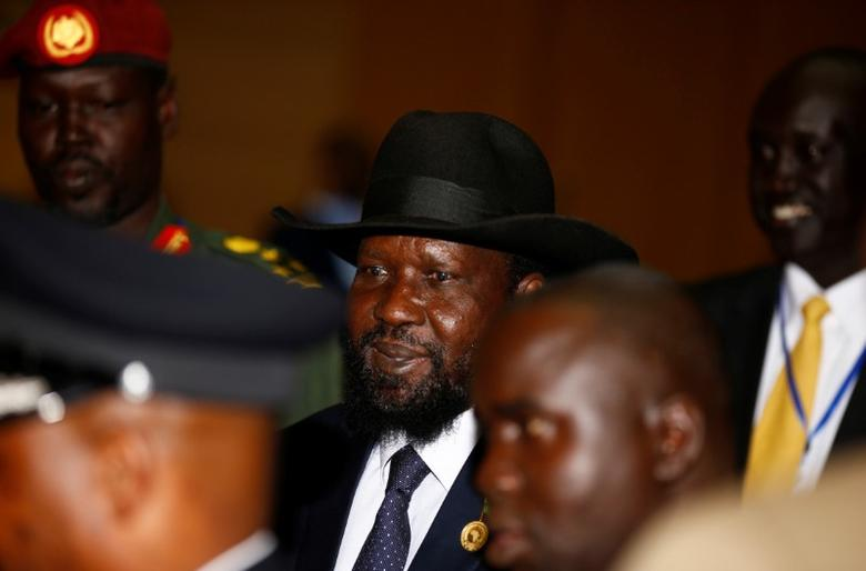 South Sudan's President Salva Kiir (C) is escorted as he arrives for the 28th Ordinary Session of the Assembly of the Heads of State and the Government of the African Union in Ethiopia's capital Addis Ababa, January 30, 2017. REUTERS/Tiksa Negeri