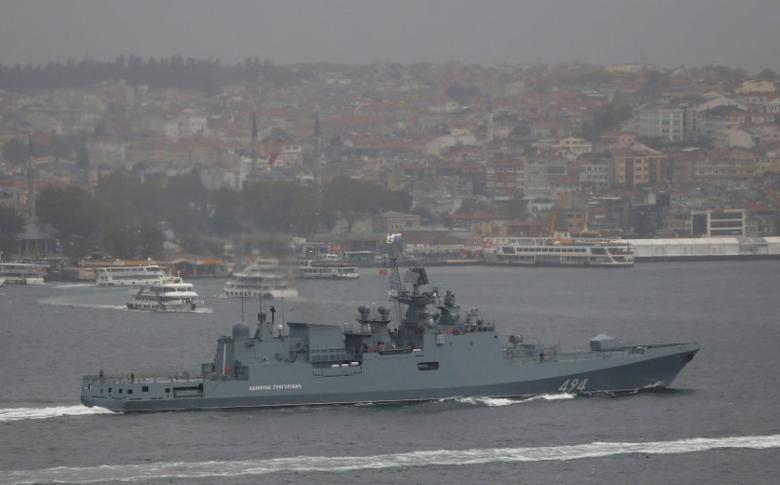 The Russian Navy's frigate Admiral Grigorovich sails in the Bosphorus on its way to the Mediterranean Sea, in Istanbul, Turkey, November 4, 2016. REUTERS/Murad Sezer