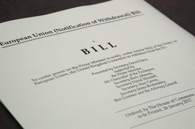 A detail is seen from a copy of the Brexit Article 50  bill, introduced by...
