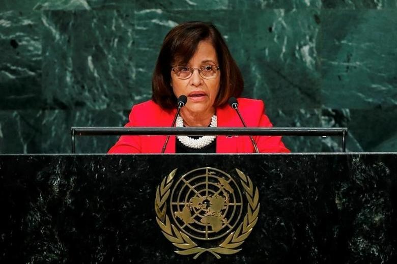 Marshall Islands President Hilda Heine addresses the United Nations General Assembly in the Manhattan borough of New York, U.S., September 22, 2016.  REUTERS/Eduardo Munoz