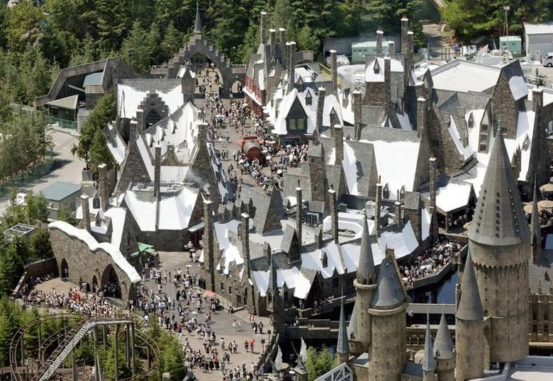 An aerial view shows Universal Studios Japan's new attraction ''The Wizarding World of Harry Potter'' as it is opened to the public at Universal Studios Japan in Osaka, in this photo taken by Kyodo July 15, 2014. Mandatory credit REUTERS/Kyodo