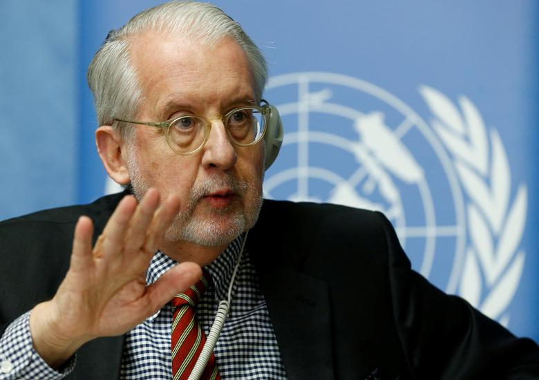 Paulo Pinheiro, Chairperson of the Independent Commission of Inquiry on the Syrian Arab Republic gestures during a news conference into events in Aleppo at the United Nations in Geneva, Switzerland, March 1, 2017. REUTERS/Denis Balibouse