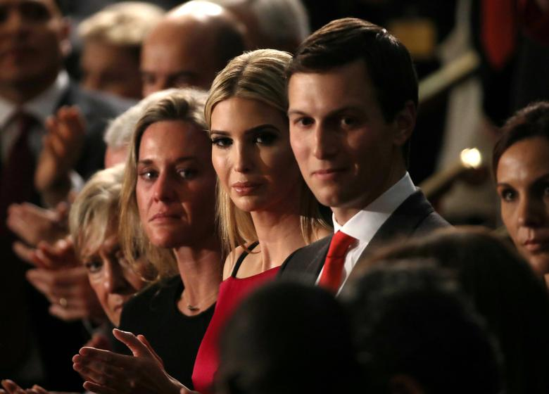 File Photo: U.S. Trump Addresses Joint Session of Congress - Washington, U.S. 28/02/17 - Ivanka Trump (C), her husband Jared Kushner (R)  applaud another guest saluted by President Donald Trump during his speech to Congress. REUTERS/Carlos Barria/File Photo