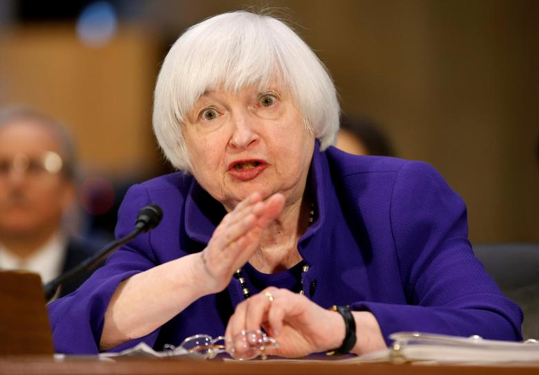 """FILE PHOTO --  Federal Reserve Chair Janet Yellen testifies before a Senate Banking, Housing, and Urban Affairs Committee hearing on the """"Semiannual Monetary Policy Report to the Congress"""" on Capitol Hill in Washington, U.S., February 14, 2017.      REUTERS/Joshua Roberts/File Photo"""