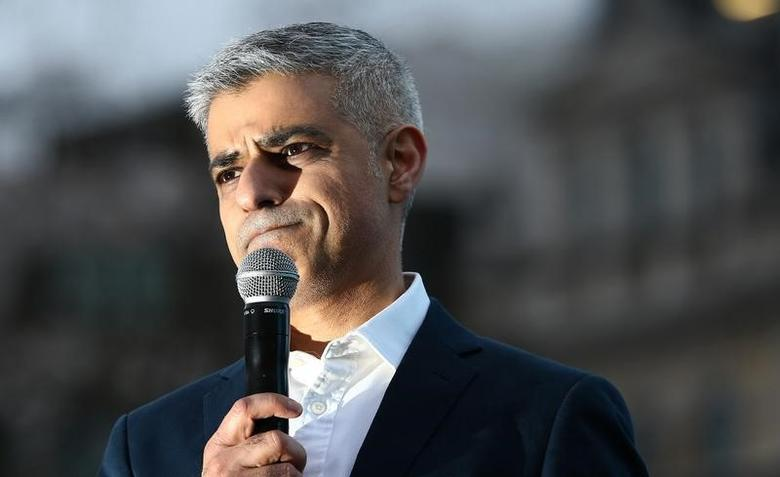 Mayor of London Sadiq Khan speaks at a screening of Asghar Farhadi's film The Salesman in Trafalgar Square in London, Britain February 26, 2017. REUTERS/Neil Hall/Files