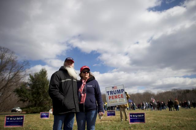Trump supporters Ken and Bonnie Sodano pose for a portrait before a ''People 4 Trump'' rally at Neshaminy State Park in Bensalem, Pennsylvania. REUTERS/Mark Makela