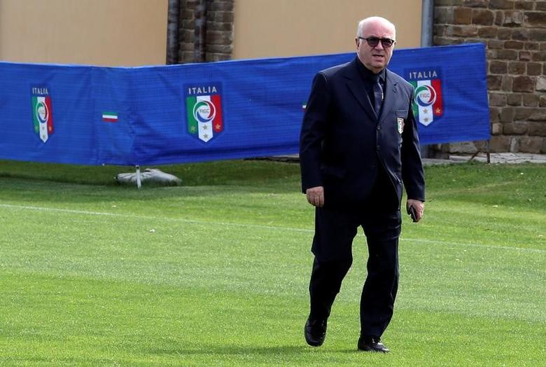 Italian Football Federation President Carlo Tavecchio arrives before the Italy's national soccer team official photo at the Coverciano training center, near Florence, June 1, 2016. REUTERS/Stefano Rellandini