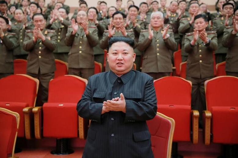 North Korean leader Kim Jong Un watches a performance given with splendor at the People's Theatre on Wednesday to mark the 70th anniversary of the founding of the State Merited Chorus in this photo released by North Korea's Korean Central News Agency (KCNA) in Pyongyang on February 23, 2017. KCNA/via REUTERS