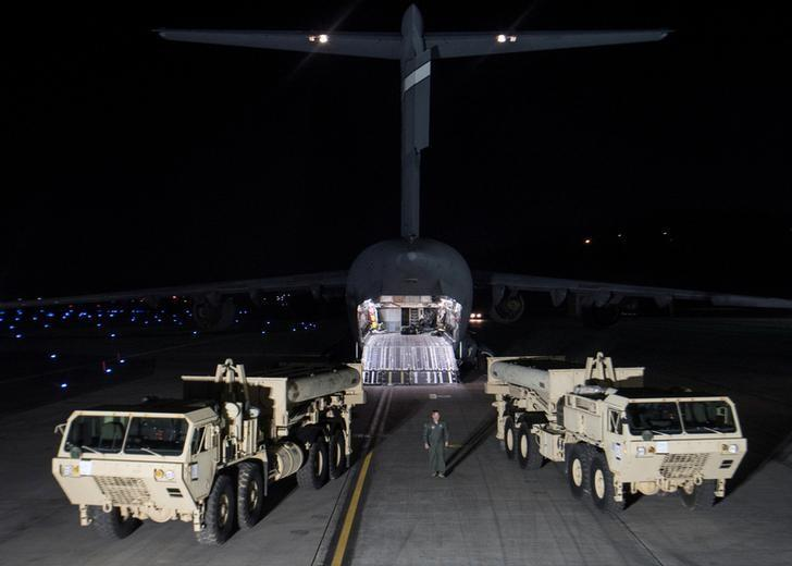 Terminal High Altitude Area Defense (THAAD) interceptors arrive at Osan Air Base in Pyeongtaek, South Korea, in this handout picture provided by the United States Forces Korea (USFK) and released by Yonhap on March 7, 2017.     USFK/Yonhap via REUTERS
