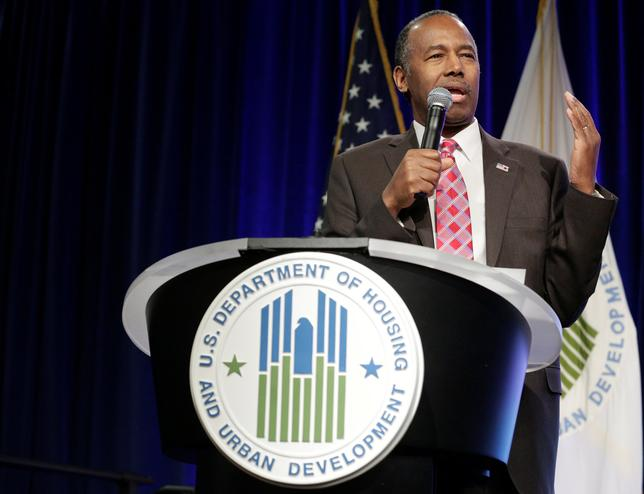 Secretary of Housing and Urban Development Ben Carson speaks to employees of the agency in Washington, U.S., March 6, 2017. REUTERS/Joshua Roberts