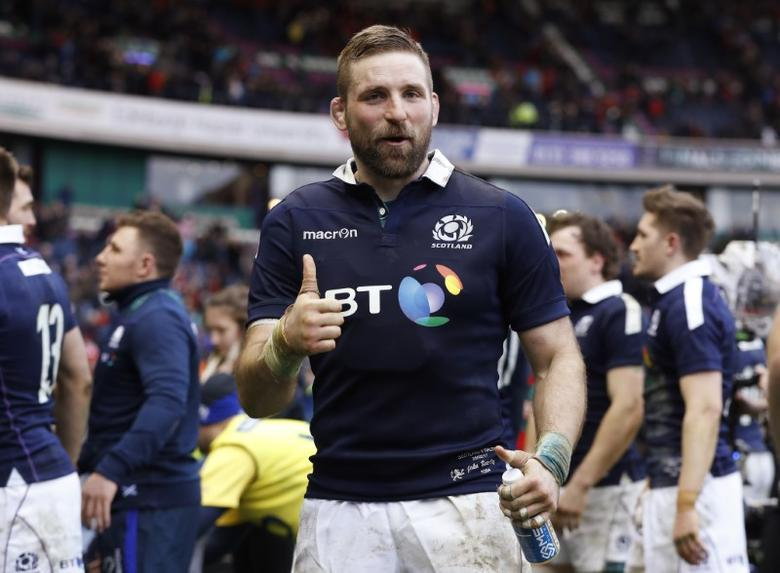 Britain Rugby Union - Scotland v Wales - Six Nations Championship - BT Murrayfield Stadium, Edinburgh - 25/2/17 Scotland's John Barclay celebrates after the game  Action Images via Reuters / Lee Smith Livepic