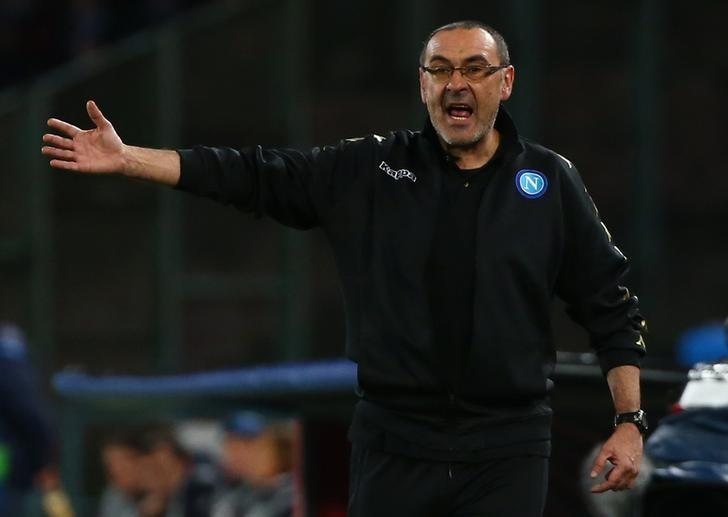 Football Soccer - Napoli v Real Madrid - UEFA Champions League Round of 16 Second Leg - Stadio San Paolo, Naples, Italy - 7/3/17 Napoli coach Maurizio Sarri Reuters / Alessandro Bianchi Livepic