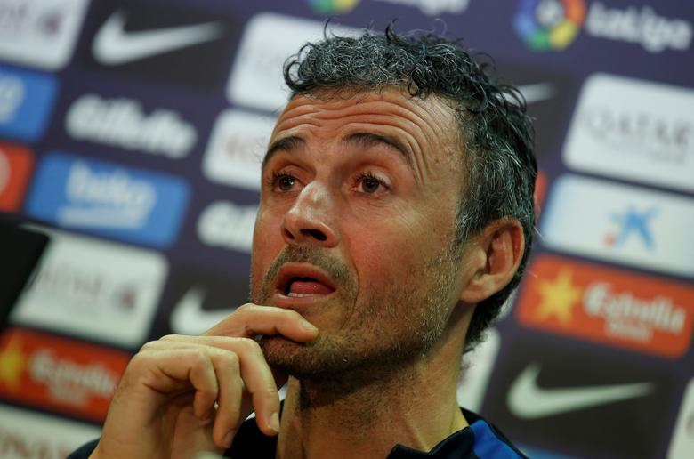 Football Soccer - Barcelona news conference - Joan Gamper training camp, Barcelona, Spain - 3/3/2017 - Barcelona's coach Luis Enrique attends a news conference. REUTERS/ Albert Gea