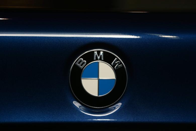 A view shows the logo on a BMW 5 series car at a dealership in Minsk, Belarus, March 2, 2017. REUTERS/Vasily Fedosenko