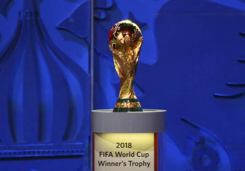 The World Cup Trophy is seen during the preliminary draw for the 2018 FIFA World Cup at Konstantin Palace in St. Petersburg, Russia July 25, 2015. REUTERS/Stringer