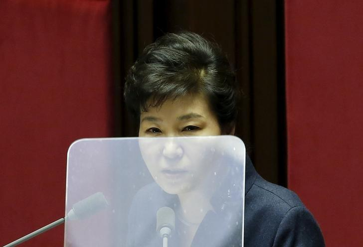 South Korean President Park Geun-hye delivers her speech during a plenary session at the National Assembly in Seoul, South Korea, February 16, 2016.  REUTERS/Kim Hong-Ji/File Photo
