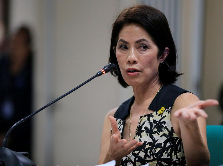 Philippines' Environment and Natural Resources (DENR) Secretary Regina Lopez gestures during a Commission on Appointment hearing at the Senate headquarters in Pasay city, metro Manila, Philippines March 9, 2017. REUTERS/Romeo Ranoco