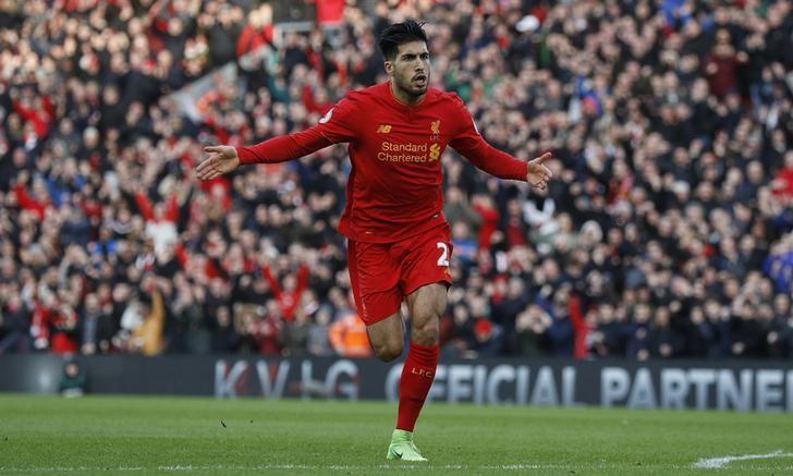 Britain Football Soccer - Liverpool v Burnley - Premier League - Anfield - 12/3/17 Liverpool's Emre Can celebrates scoring their second goal  Reuters / Phil Noble Livepic
