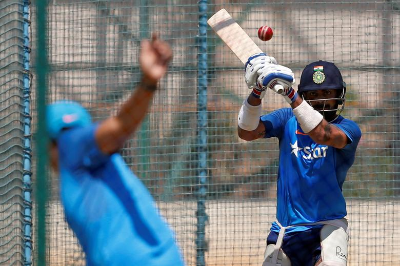 Cricket - India v Australia - India team practice session - M Chinnaswamy Stadium, Bengaluru, India - 03/03/17 - India's captain Virat Kohli bats in the nets. REUTERS/Danish Siddiqui