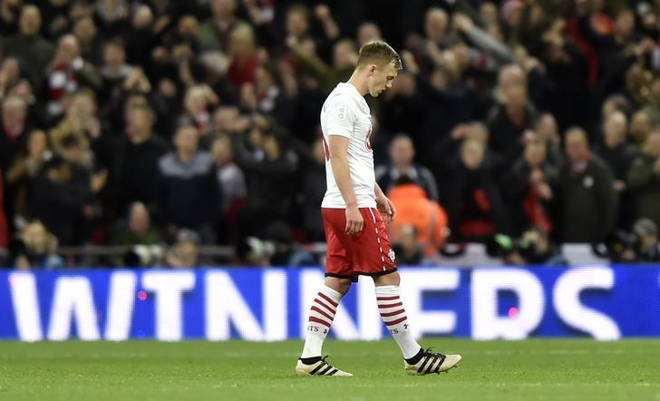 Britain Soccer Football - Southampton v Manchester United - EFL Cup Final - Wembley Stadium - 26/2/17 Southampton's James Ward-Prowse looks dejected after the game  Reuters / Hannah McKay Livepic/File Photo