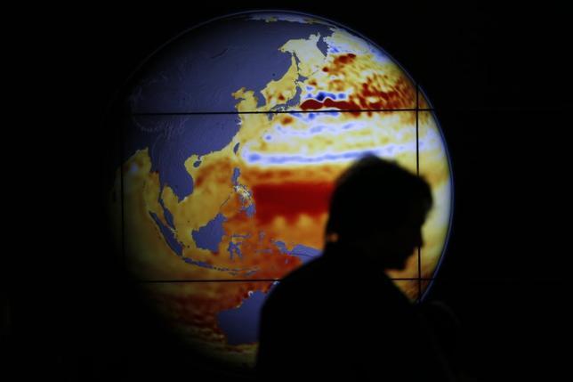 3月15日、米共和党議員17人が、地球温暖化回避に向け「経済的に実行可能な」方法を探る決議に署名した。選挙戦で「地球温暖化はでっち上げ」としたトランプ大統領の考えに反する動きとなる。写真は2015年世界気候変動会議で海水温の上昇を示す地球儀の前を通り過ぎる女性。2015年12月撮影(2017年 ロイター/Stephane Mahe)