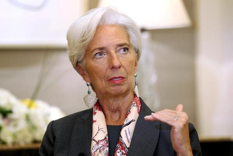 IMF Managing Director Christine Lagarde gestures during an interview with Reuters in Dubai, United Arab Emirates, February 13, 2017. REUTERS/Stringer