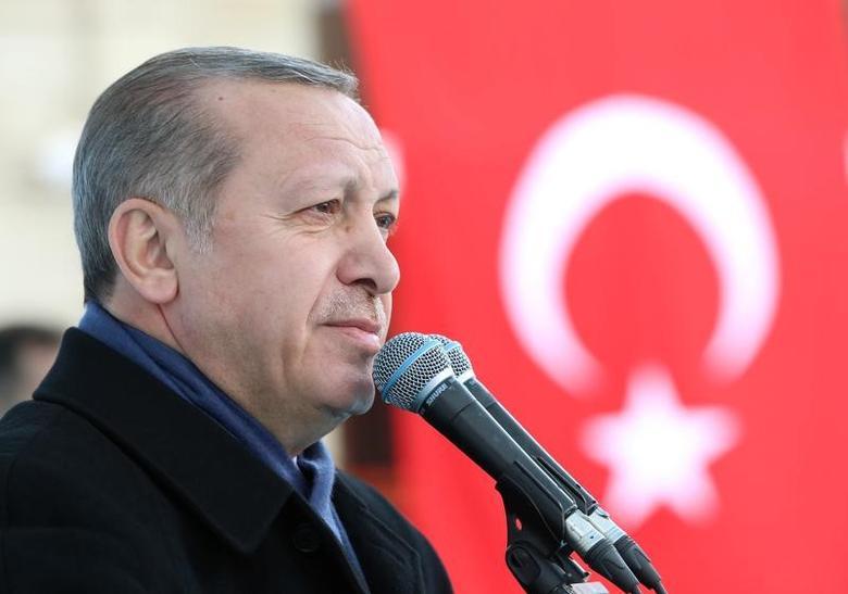 Turkish President Tayyip Erdogan speaks during a ceremony in Eskisehir, Turkey, March 17, 2017. Murat Cetinmuhurdar/Presidential Palace/Handout via REUTERS