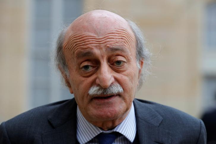 Lebanese Druze leader Walid Jumblatt leaves the Elysee Palace in Paris following a meeting with French President Francois Hollande, February 21, 2017. REUTERS/Philippe Wojazer