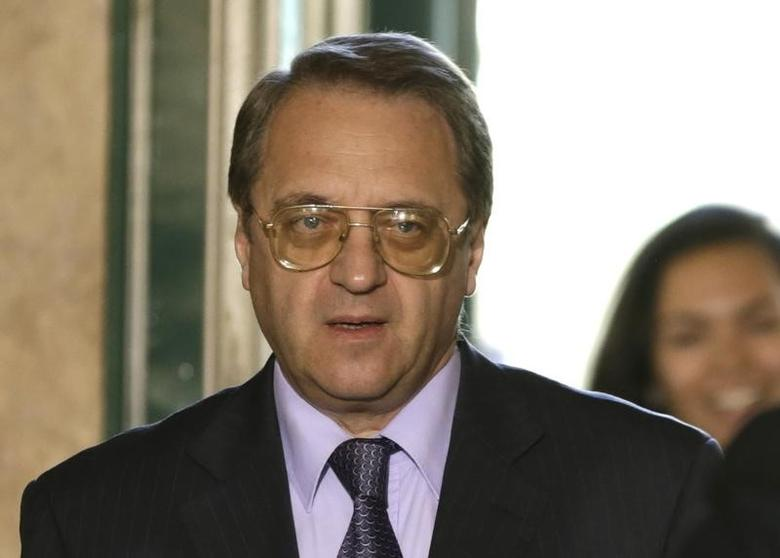 Russia Deputy Foreign Minister Mikhail Bogdanov arrives for a meeting on Syria at the United Nations European headquarters in Geneva June 5, 2013.  REUTERS/Denis Balibouse
