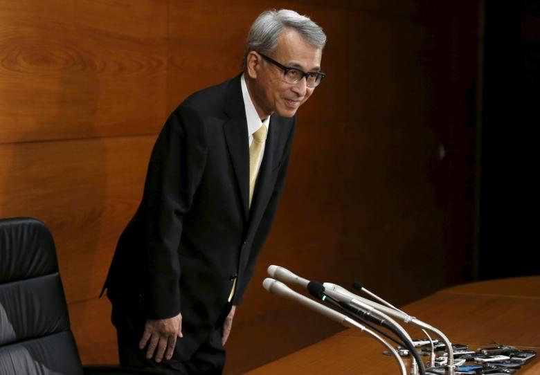 FILE PHOTO: Newly-appointed Bank of Japan (BOJ) board member Yukitoshi Funo arrives at his inauguration news conference at the BOJ headquarters in Tokyo, July 1, 2015.   REUTERS/Toru Hanai