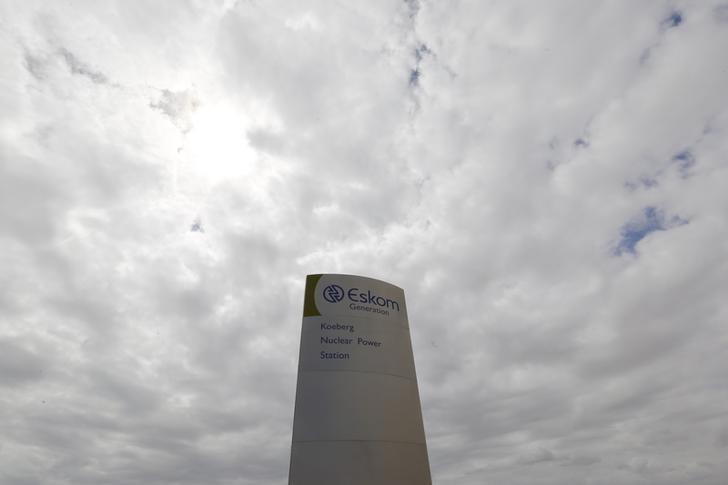 The logo of state power utility Eskom  is seen outside Cape Town's Koeberg nuclear power plant in this picture taken March 20, 2016. REUTERS/Mike Hutchings