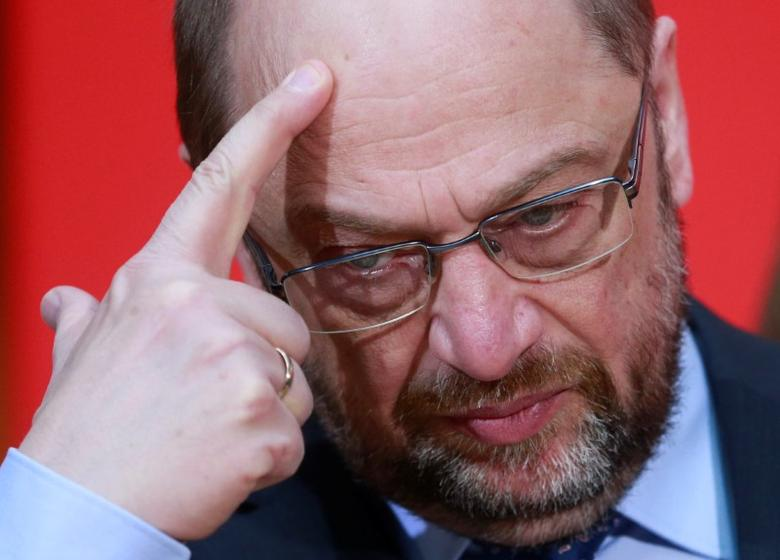 Social Democratic Party (SPD) leader Martin Schulz reacts at the SPD headquarters in Berlin, Germany, March 27, 2017. REUTERS/Hannibal Hanschke